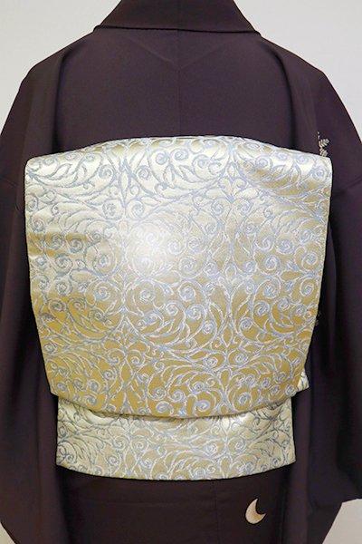 銀座【L-4840】西陣 川島織物製 本袋帯 金色 西洋唐草文(落款入)