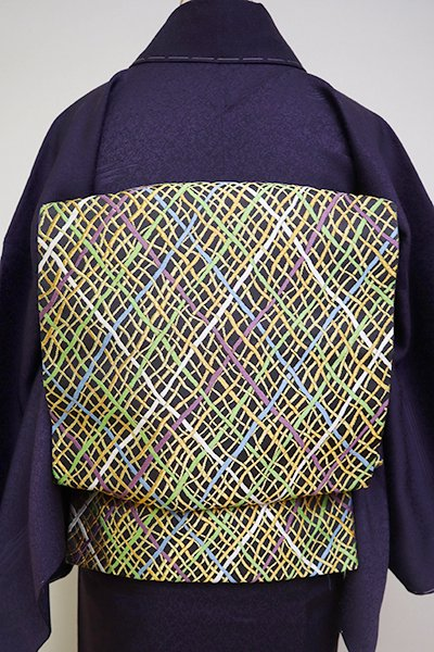 銀座【L-4842】西陣 河合美術織物製 袋帯 濃墨色 抽象文(落款入)
