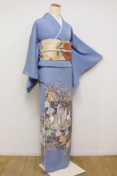 WEB限定【B-2431】(S)染三ッ紋 色留袖 青藤色「貴婦人と一角獣」(高島屋扱い)
