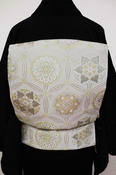 銀座【L-4844】西陣製 袋帯 白色 七宝華文(証紙付)(N)