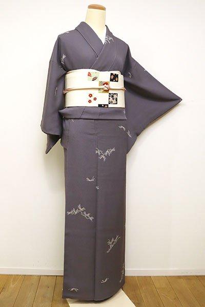 銀座【D-2404】(S)小紋 紫鼠色 松の図(三越扱い)