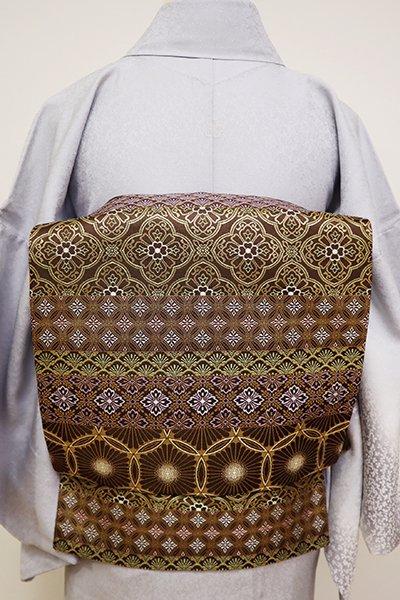 銀座【L-4856】西陣 陰山織物製 箔屋清兵衛 袋帯 憲法色 装飾文の横段(落款入)(N)