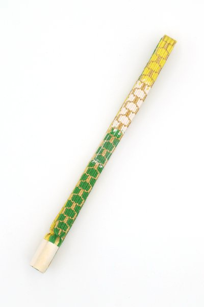 【G-1457】道明 帯締め 亀甲組 深緑色×刈安色系 暈かし