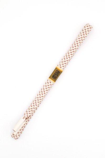 あおき【G-1470】道明 帯締め 白色×胡桃染系(未使用)