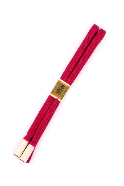 あおき【G-1478】道明 帯締め 冠組 濃紅色系(未使用)