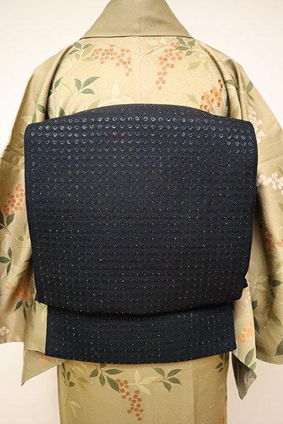 銀座【L-4861】西陣製 洒落袋帯 黒色 ドット文様(証紙付)