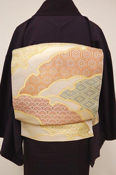 銀座【L-4862】西陣 川島織物製 本袋帯 練色 雪輪重ね文(落款入)