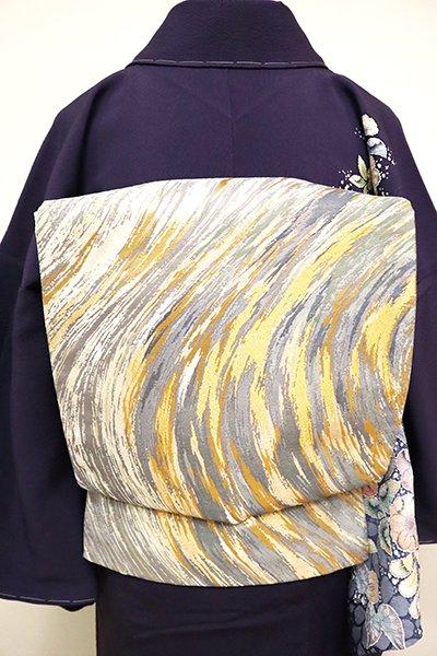 銀座【L-4863】西陣製 袋帯 金色×銀色 抽象文(落款入)