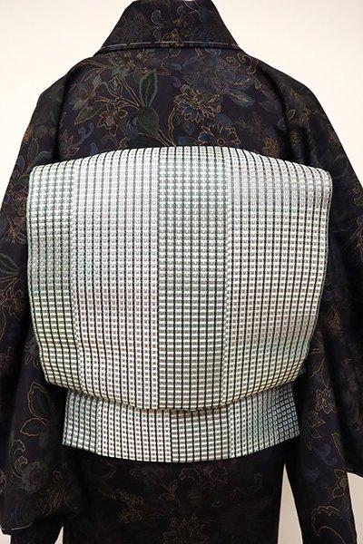 銀座【L-4865】洒落袋帯 薄青色 抽象文