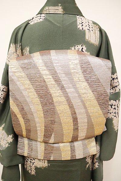 銀座【L-4866】洒落袋帯 白鼠色×金色×銀色 流線文