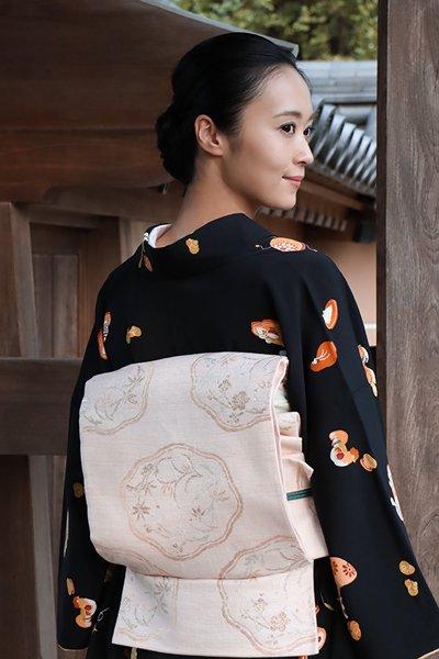 銀座【帯3222】洛風林製 袋帯 薄桜色 花文