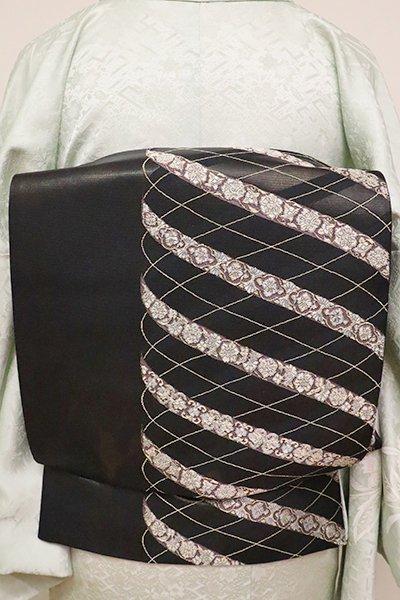 銀座【L-4868】袋帯 黒色 装飾文様