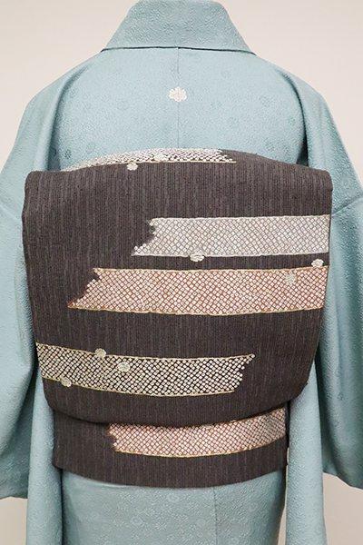 銀座【L-4877】西陣 加納幸製 袋帯 消炭色 霞に雪輪文(落款入)