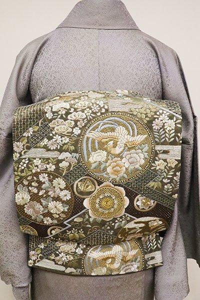 銀座【L-4878】刺繍 袋帯 仙斎茶色 松皮菱に鳳凰や花の丸文