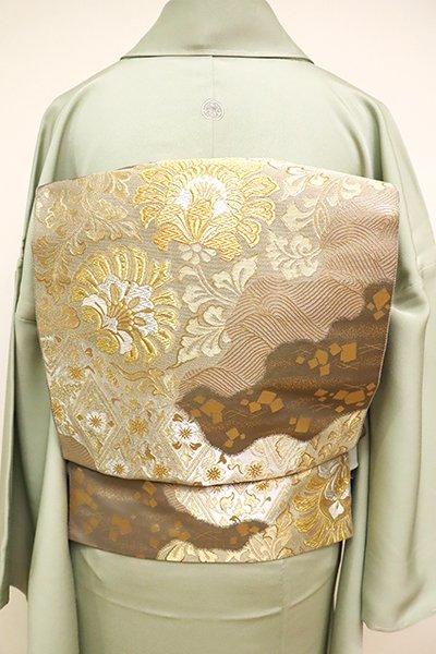 銀座【L-4881】西陣 服部織物製 袋帯 胡桃染色 道長取りに花唐草など(落款入)