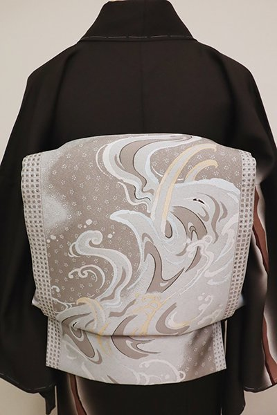 銀座【L-4882】西陣 となみ織物製 洒落袋帯 波に象の図(証紙付)