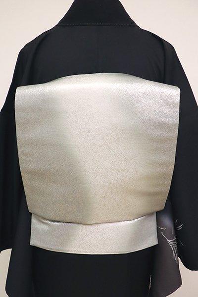 銀座【L-4883】袋帯 銀色 流線暈かし