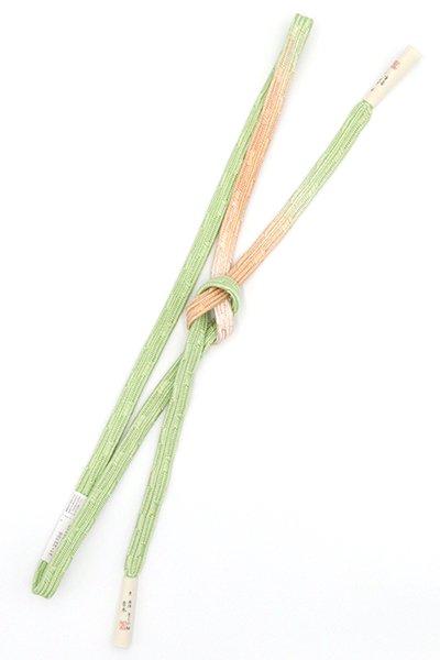 【G-1515】京都衿秀製 手組帯締め 変わり貝の口 苗色×伽羅色 二色暈かし(新品)