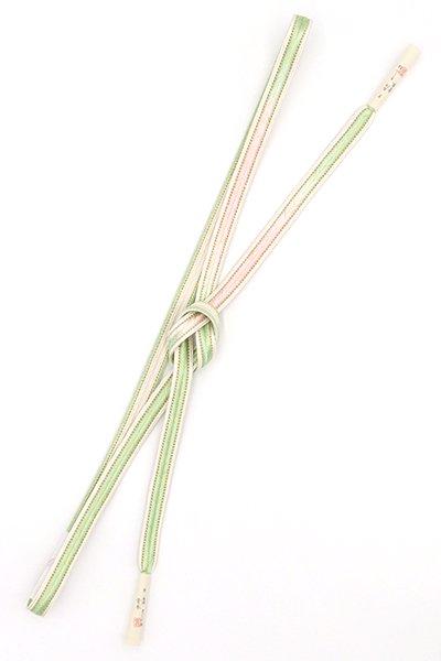 銀座【G-1516】京都衿秀製 手組帯締め 裏葉柳色×薄桜色 二色暈かし(新品)