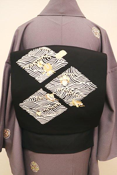 銀座【K-6468】菱健製 塩瀬 染名古屋帯 黒色 波に宝尽くし文(反端付)(N)