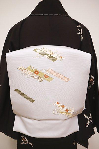 銀座【K-6470】塩瀬 染名古屋帯 白菫色 花筏の図(反端付)(N)