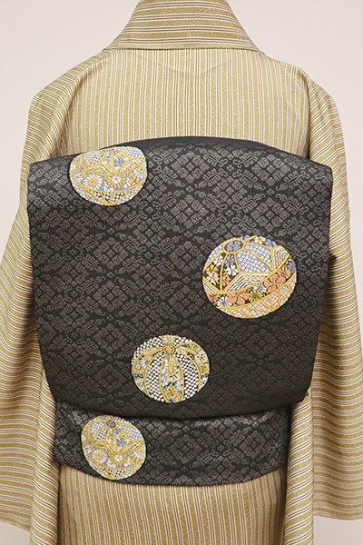 銀座【K-6476】織名古屋帯 羊羹色 手鞠の図