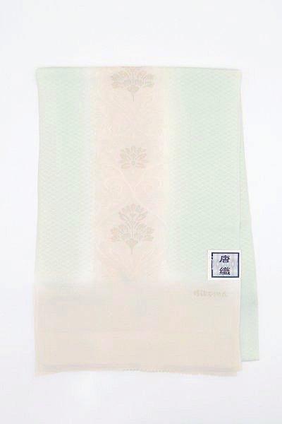 【G-1518】京都 衿秀 帯揚げ 練色×白緑色 欧風唐花文(新品)
