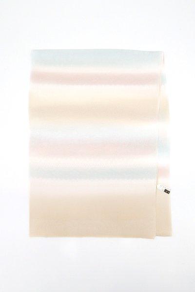 銀座【G-1522】京都 衿秀 帯揚げ 白橡色×月白色×灰梅色 段暈かし(新品)