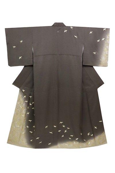 銀座【着物2667】蘇州刺繍 繍一ッ紋訪問着 消炭色 波に白鷺の図