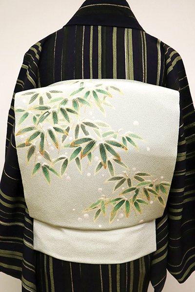 銀座【K-6477】縮緬地 染名古屋帯 白緑色 雪持ち笹