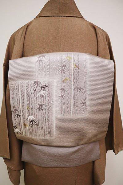 銀座【K-6484】縮緬地 染名古屋帯 胡桃染色 色紙に竹の図