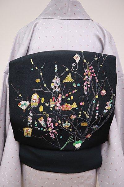 銀座【K-6486】縮緬地 染名古屋帯 黒緑色 餅花の図(銀座いせよし扱い・畳紙付)