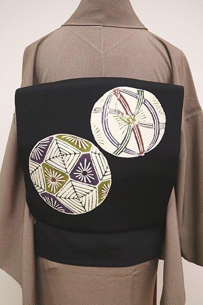 銀座【K-6487】縮緬地 型絵染 名古屋帯 黒色 手鞠の図