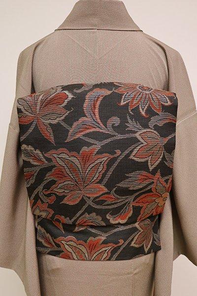 銀座【K-6488】織名古屋帯 檳榔子染色 唐花の図