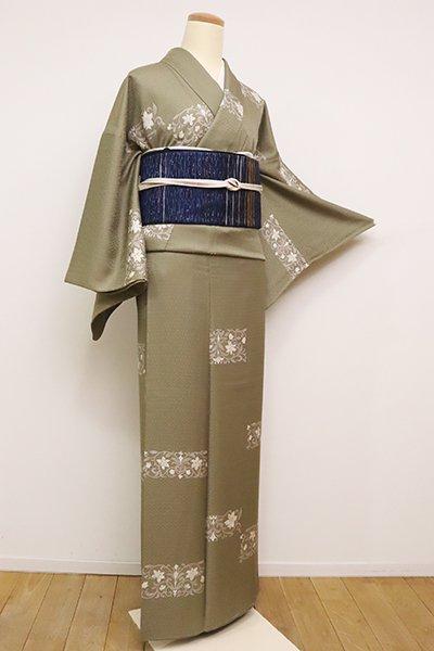 銀座【D-2422】小紋 黄海松茶色 唐花の横段