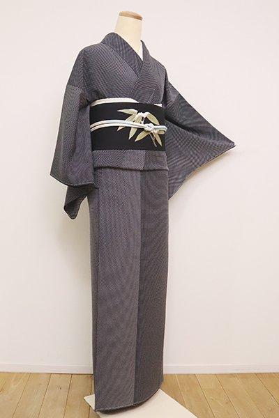 銀座【D-2423】(S)小紋 黒色 斜め格子