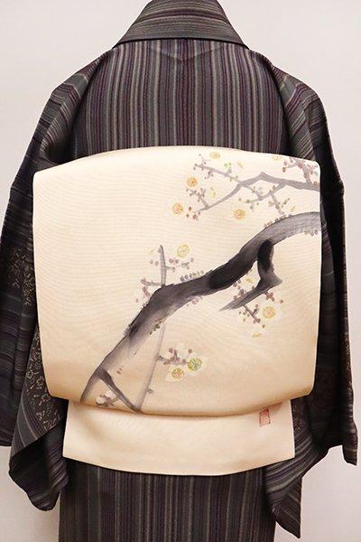 銀座【K-6492】熊谷好博子作 塩瀬 染名古屋帯 薄卵色 白梅の図(落款入)