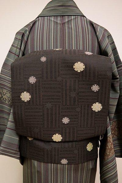 銀座【K-6493】織名古屋帯 赤墨色 網代に雪輪散らし