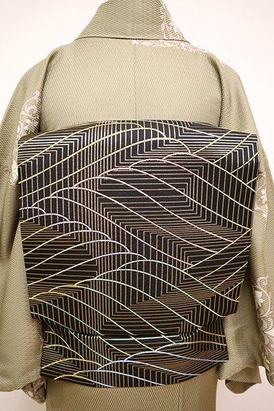 銀座【K-6494】西陣製 織名古屋帯 黒色 多彩な波文