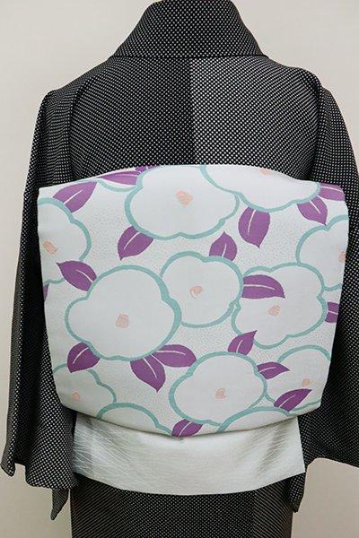 銀座【K-6497】西陣製 織名古屋帯 藍白色 椿の図(証紙付)