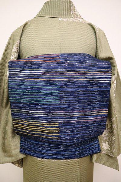 銀座【L-4885】西陣製 洒落袋帯 紺青色 抽象文の横段(証紙付)