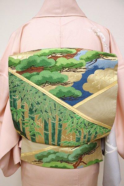 銀座【L-4886】西陣 川島織物製 本袋帯 金色 松竹の図(落款入・三越扱い)