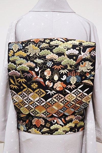 銀座【L-4889】西陣 服部織物製 袋帯 黒色 宝尽くしの段(落款入)