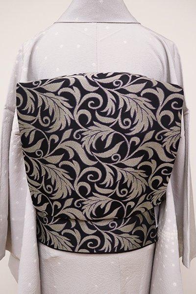 銀座【L-4891】洒落袋帯 黒色 西洋唐草文