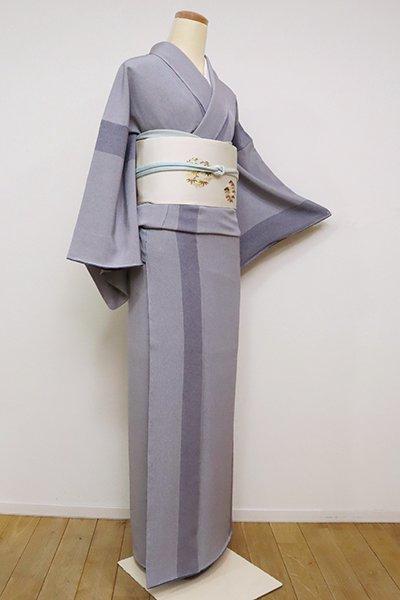 銀座【C-1790】江戸小紋 藍鼠色 万筋と鮫(落款入・反端付)
