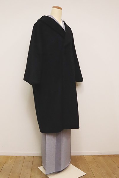 銀座【E-1175】カシミア混 和装コート 黒色 無地(N)