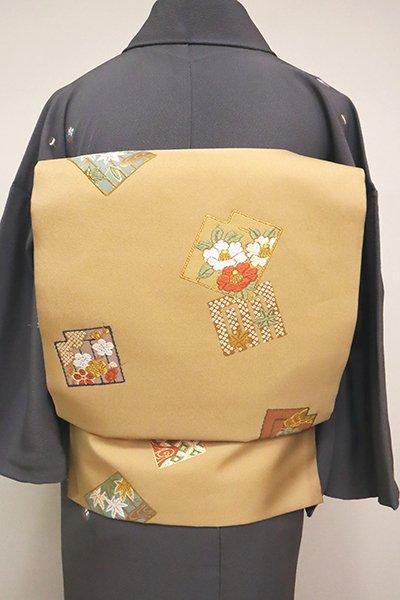 銀座【K-6512】織名古屋帯 丁子色 源氏香に四季花など