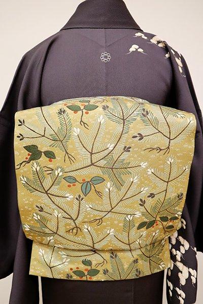 銀座【L-4893】本袋帯 木蘭色 松や南天の図