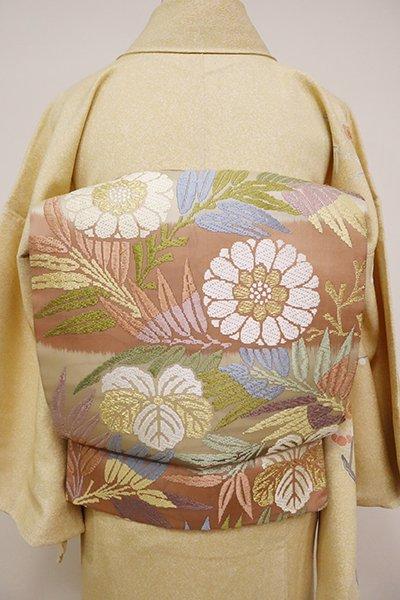 銀座【L-4894】西陣製 袋帯 練色 横段に菊や蔦など(証紙付)(N)