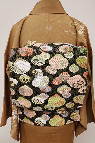 あおき【L-4895】袋帯 黒色 貝合わせ文